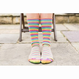 West Yorkshire Spinners Luxury Blue Faced Leicester Socks Size 3 -5 Rainbow